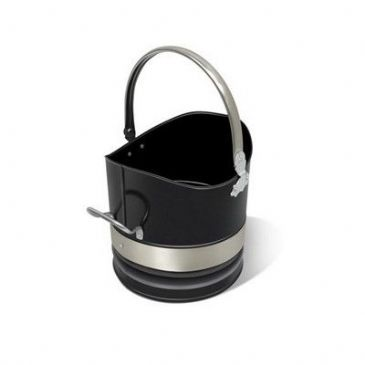 "Coal bucket 10"" Diamter. Black + Stainless Steel bands."